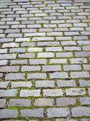 foto of cobblestone  - Grey cobblestone pavement - JPG