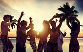 picture of beach party  - People Celebration Beach Party Summer Holiday Vacation Concept - JPG