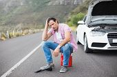 pic of nervous breakdown  - Stressed man after a car breakdown at the side of the road - JPG