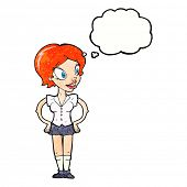 picture of short skirt  - cartoon happy woman in short skirt with thought bubble - JPG