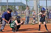 Girl's Softball At Bat
