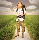 foto of wander  - Young explorer with backpack on the trail - JPG