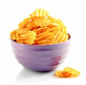 picture of potato chips  - Delicious potato chips in bowl isolated on white - JPG