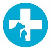 stock photo of blue animal  - blue veterinarian medicine icon with pet for veterinary help - JPG