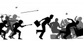 stock photo of caveman  - Illustrated silhouettes of cavemen attacking a business meeting - JPG