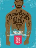 foto of hen party  - Calligraphic poster for bachelorette party with a tattoo on a man - JPG