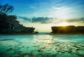 image of landscape architecture  - BALI Landmark Tanah Lot temple in sunset - JPG