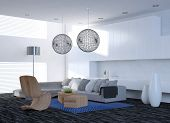 picture of settee  - Modern elegant living room interior with a corner unit settee and contemporary chairs under spherical latticework lampshades - JPG