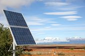 picture of steppes  - Solar panel set in Patagonian steppe - JPG