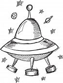 picture of flying saucer  - Doodle Sketch UFO Flying Saucer Vector Illustration Art - JPG