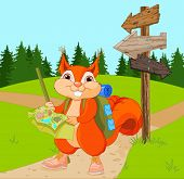 foto of clip-art staff  - Illustration of traveler squirrel follows the signpost route - JPG