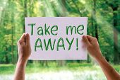 stock photo of time flies  - Take Me Away card with nature background - JPG