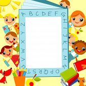 image of education  - set of bright colored children boys and girls against the background of the alphabet as a frame for text - JPG