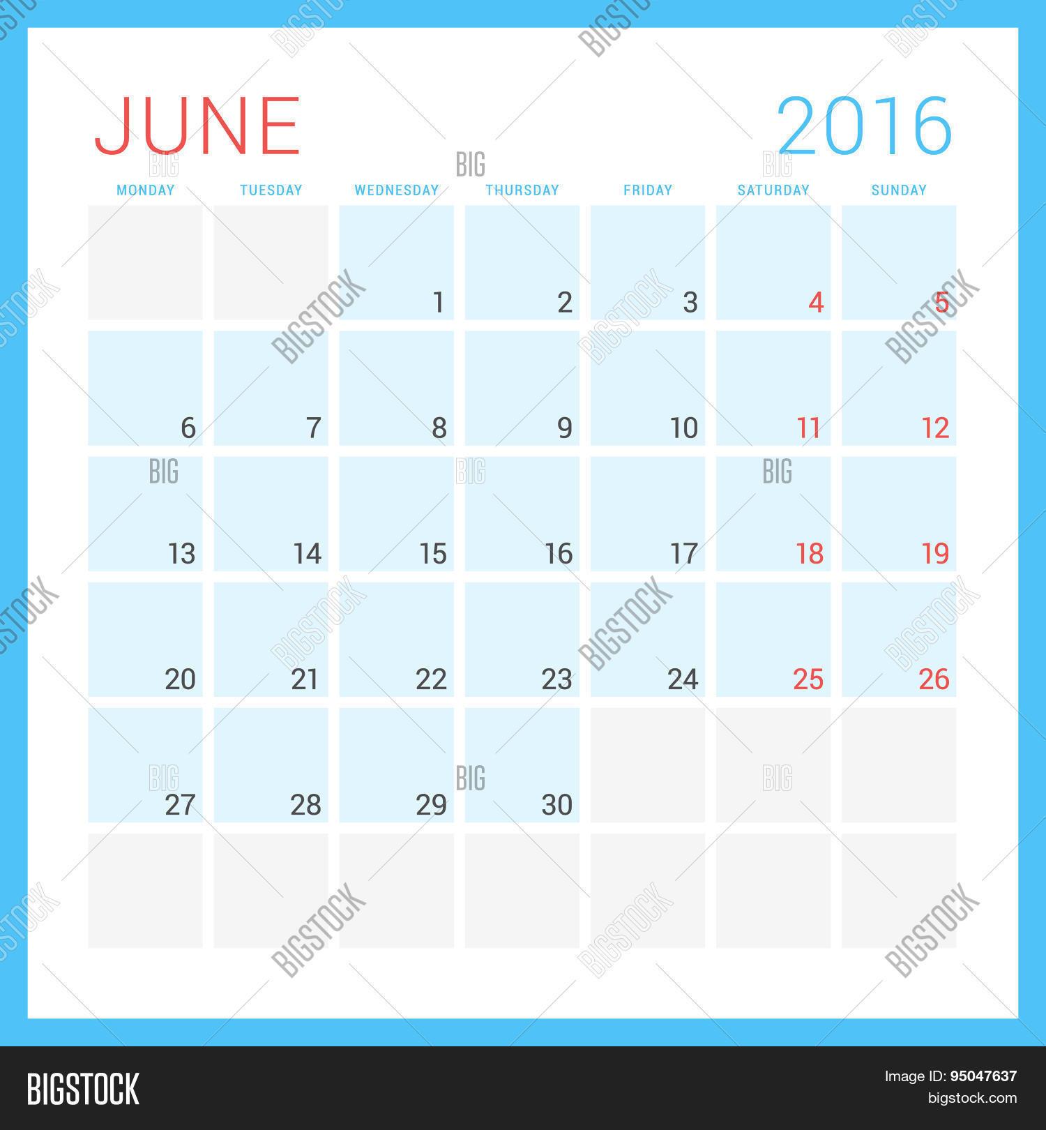 June Calendar Vector : Calendar vector flat design template june week
