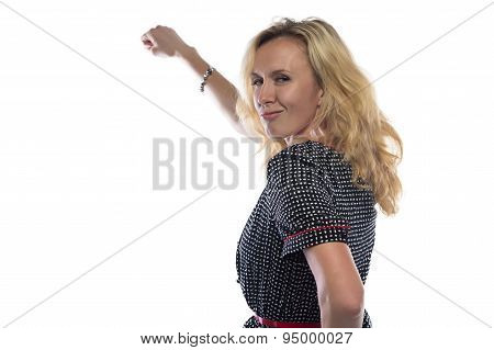 Photo of woman with blond hair, hand up