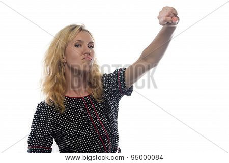 Image of woman with blond hair, hand up
