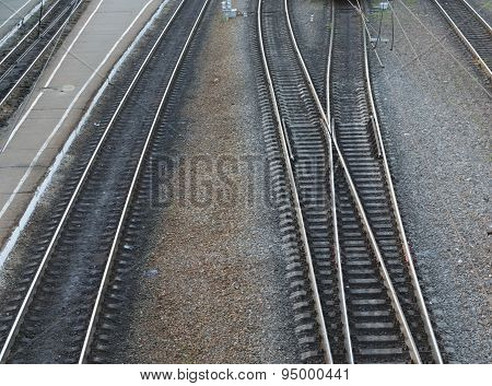 Rail Fork In The Railway Station. View From Above