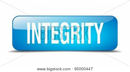 Integrity Blue Square 3D Realistic Isolated Web Button