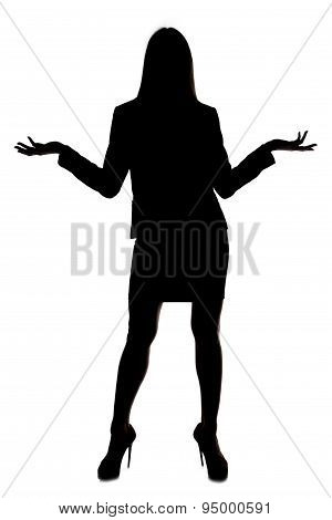 Photo woman's silhouette with open hands
