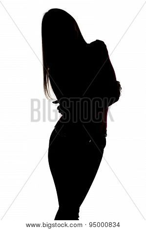 Silhouette of slim woman with leaning head