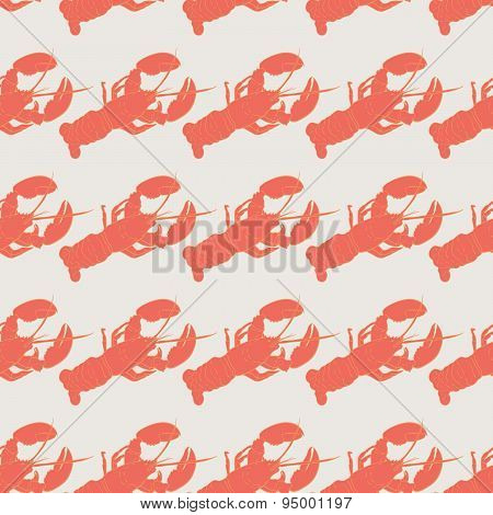 Lobster seamless vector pattern