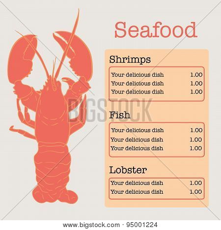 Vector seafood menu page with lobster