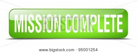 Mission Complete Green Square 3D Realistic Isolated Web Button