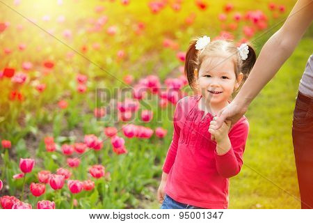 Mom And Child Having Fun Outdoors