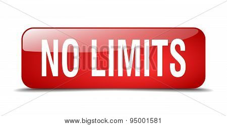 No Limits Red Square 3D Realistic Isolated Web Button