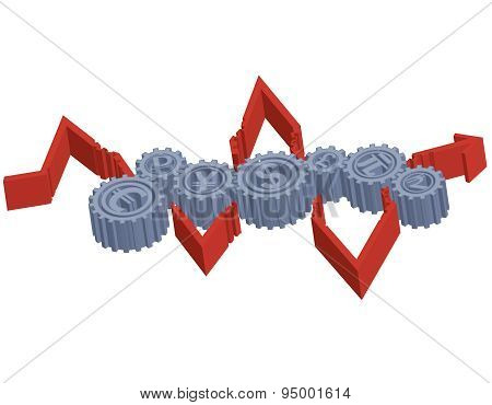 Concept of the global monetary system. Vector illustration