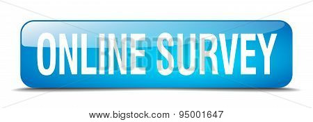 Online Survey Blue Square 3D Realistic Isolated Web Button