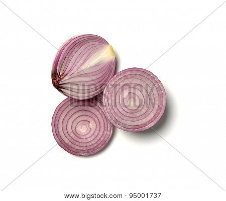 red onions cut