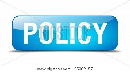 Policy Blue Square 3D Realistic Isolated Web Button