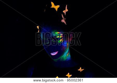 Portrait of woman with luminous make up