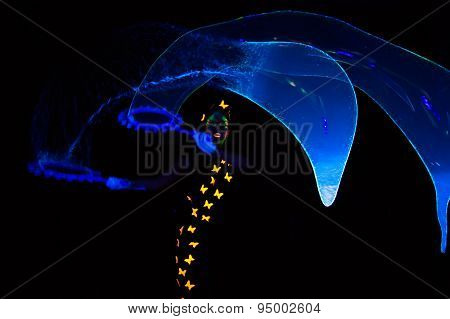 Photo of woman with big luminous bubbles