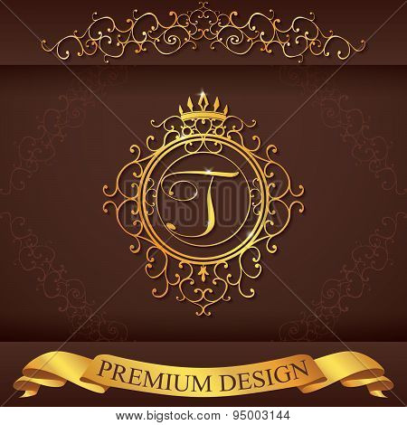Letter T. Luxury Logo Template Flourishes Calligraphic Elegant Ornament Lines. Business Sign, Identi