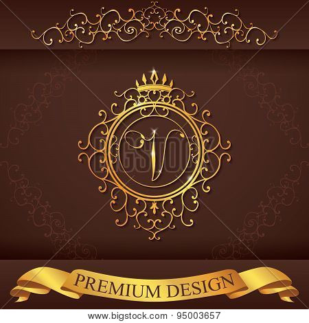 Letter V. Luxury Logo Template Flourishes Calligraphic Elegant Ornament Lines. Business Sign, Identi