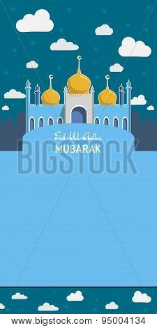Flat Vector Illustration of Mosque for Muslim Community Festival Eid Al Fitr Mubarak.