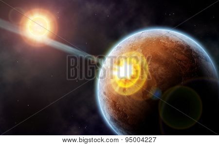 Comet strike against desert planet