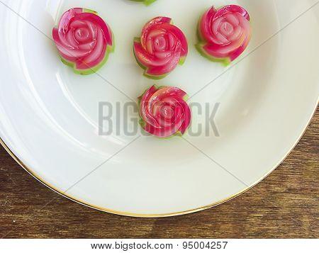 Layer Sweet Cake (kanom Chan), Rose Shape
