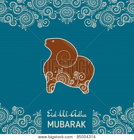 Greeting card template for Muslim Community Festival Eid-Al-Fitr Mubarak with flat sheep illustratio