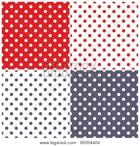 Tile vector pattern set with white, sailor navy blue and red polka dots