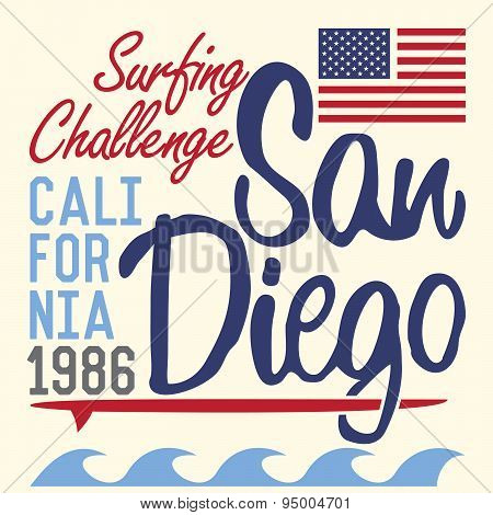 California San Diego Typography, T-shirt Printing Design, Summer Vector Badge Applique Label