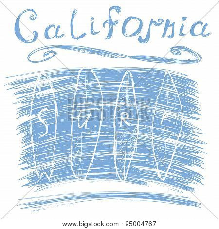 California Surf Typography, T-shirt Printing Design Graphics, Vector Poster, Badge Applique Label