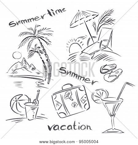 Black and white illustration of traveling themes, Summer vacation background