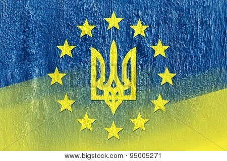 Combining Flags Of Ukraine And The European Union