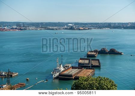Barges In Port Of Tacoma