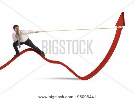 Businessman lifts statistics
