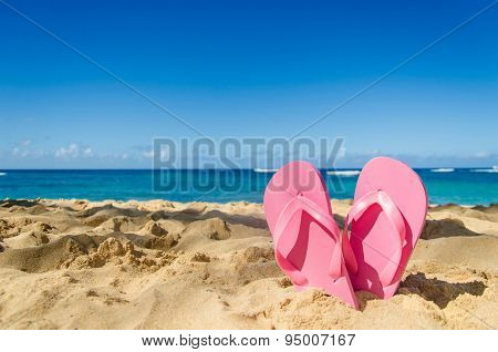 Pink Flip Flops On The Sandy Beach