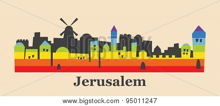 Jerusalem skyline colored with gay flag colors